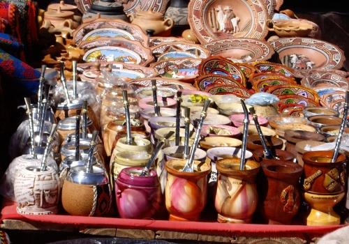 Mate gourds and bombillas, artisan market in Purmamarca, Argentina