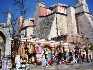 Side view of Hagia Sophia, with Turkish rugs and lights for sale