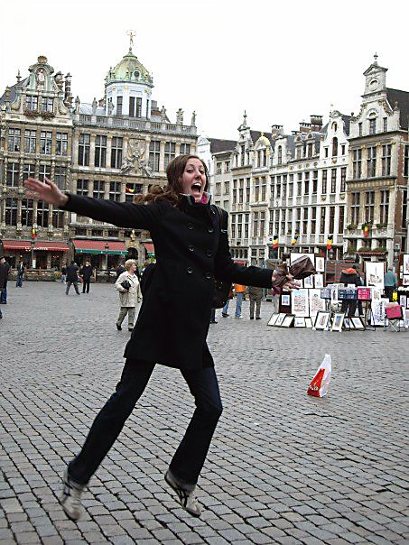 Tavel Leaping in Grand Place. Brussels, Belgium.