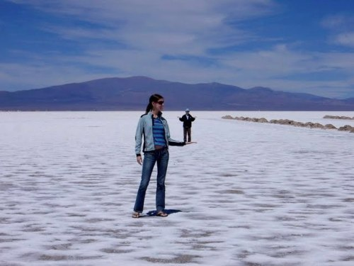 Robo and me, playing with optical illusions on the salt flats of Argentina