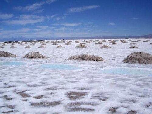 Salt pools and mounds