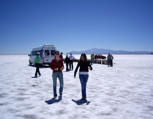 Sisters arriving at the salt flats