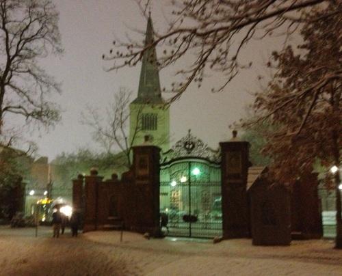 Harvard Square, first snow. Cambridge, MA.