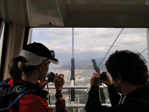 Friends take pictures as we rise to the peak of Pichincha Volcano, thousands of feet above the second highest capital in the world, Quito, Ecuador.