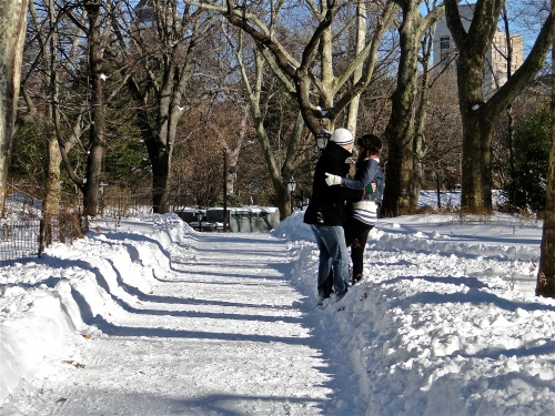 Love in the snow. NY, NY.