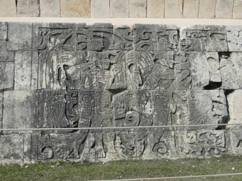 Relief sculpture along the Ball Court walls. Chichen Itza.