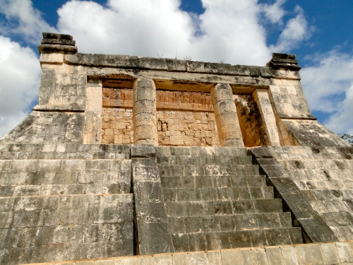 King's throne over the ball court. Chichen Itza.