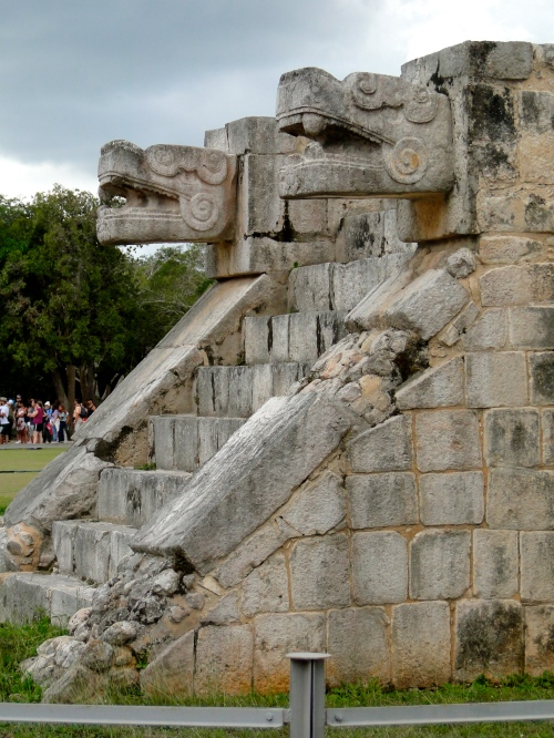 Kukulkan sculptures. Chichen Itza.