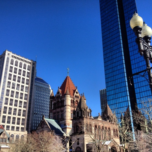 Blue sky and buildings. Boston, MA.