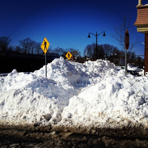 Snow piles. Blizzard 2013. Somerville, MA.