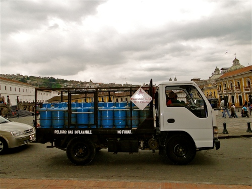 Flammable truck. Plaza in Old Town Quito, Ecuador.