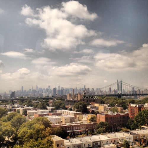 NYC skyline from the train.